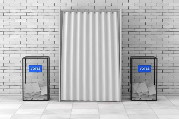 Ящики для голосования возле белой будки для голосования с занавеской и пустым пространством перед кирпичной стеной. 3d рендеринг