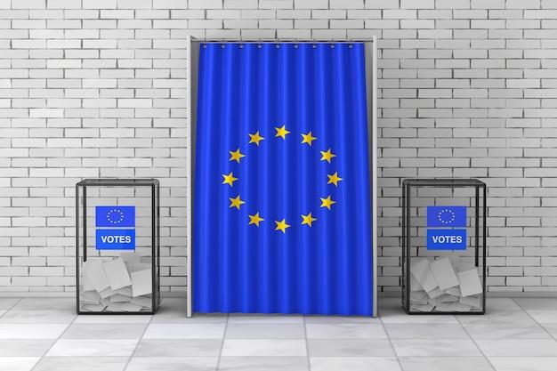 Ящики для голосования возле белой кабины для голосования с занавеской и флагом европейского союза ñˆñ 'перед кирпичной стеной. 3d рендеринг