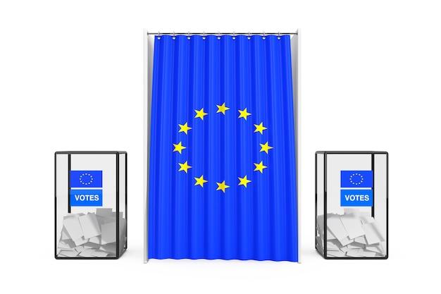 Урны возле белой будки для голосования с занавесом и флагом европейского союза на белом фоне. 3d рендеринг