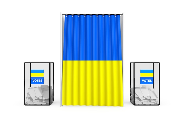 Урны возле белой будки для голосования с занавесом и флагом украины на белом фоне. 3d рендеринг