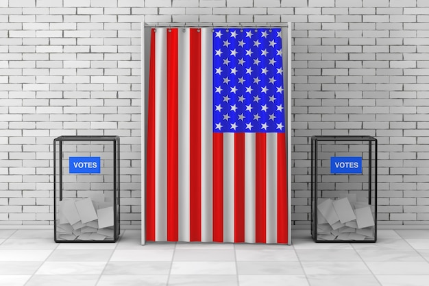 Ящики для голосования возле белой будки для голосования с занавеской и флагом сша перед кирпичной стеной. 3d рендеринг