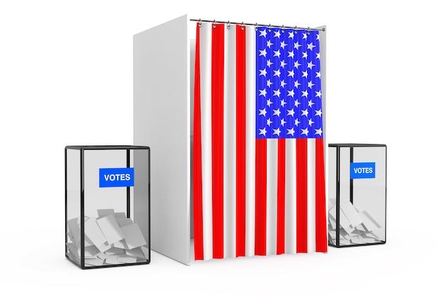 Урны возле белой будки для голосования с занавесом и флагом сша на белом фоне. 3d рендеринг
