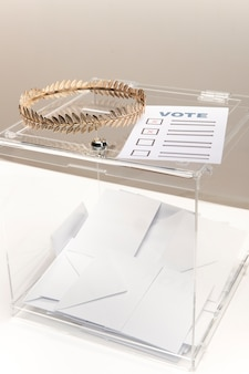 Ballot-paper and transparent box with envelopes