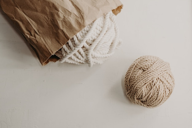 Balls of cotton yarn for making macrame.