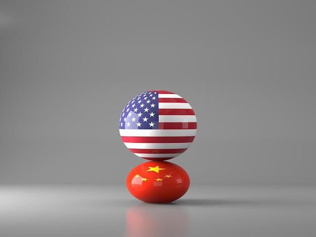 アメリカと中国の旗が付いている球