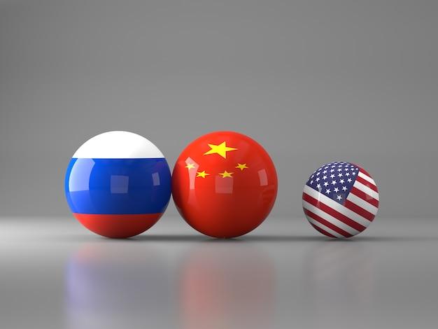 アメリカ、中国、ロシアの国旗が付いたボール
