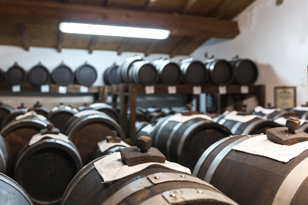 Balsamic vinegar wooden barrels storing and aging