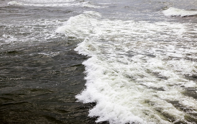 Baltic sea in summer, cold windy weather in august, sea coast with lots of waves from windy weather