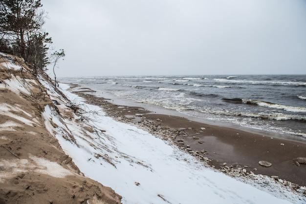 バルト海の野生のビーチは冬は雪が降り、大きな波があります
