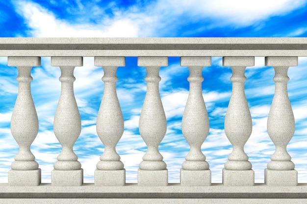 Balustrade pillars on a sky background