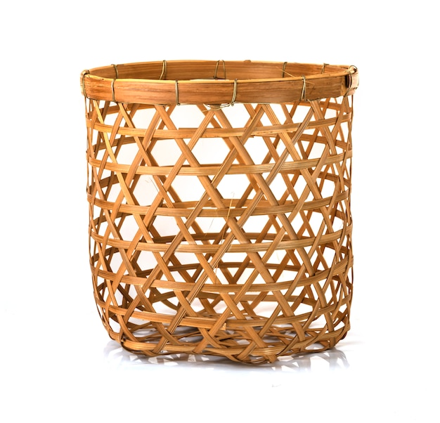 Bamboo basket hand made isolated