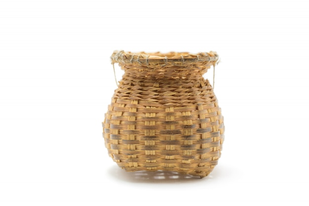 Bamboo basket hand made used for putting various devices isolated on white