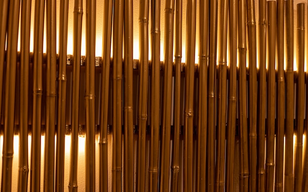 Bamboo branches painted in golden colors with backlight. wall decoration, lamp. full frame close-up photo. illuminated bamboo trunks in the interior. space for text. abstract background and texture.