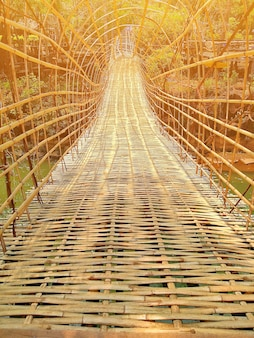 Bamboo bridge at pharsoum waterfall popular traveling place in southern of laos