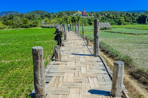 Bamboo bridge.  sutongpe bridge. the longest wooden bridge , mae hong son ,thailand
