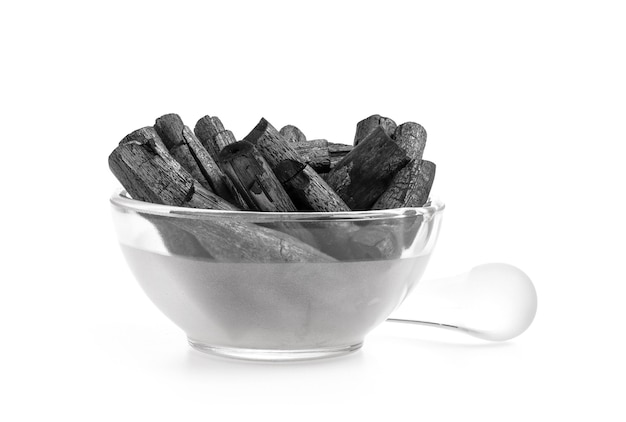 Bamboo charcoal isolated on a white surface