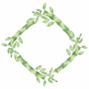 Bamboo green leaves and and golden leaf frames. watercolor illustrations. green natural wreath frame.