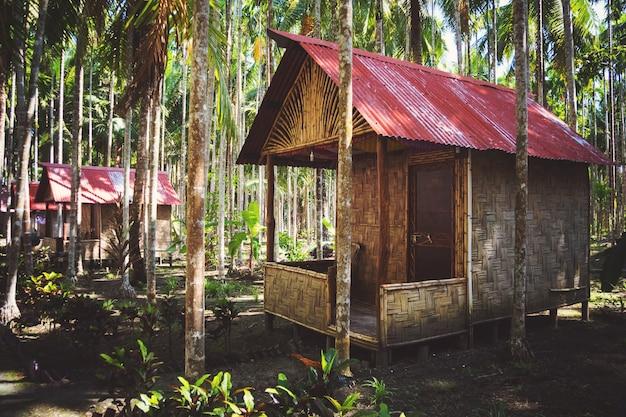 야자수 숲에 있는 대나무 집. 안다만 및 니코바르 제도의 havelock 섬. 주택 경제 옵션