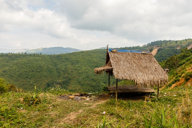 Bamboo hut in the mountains of laos