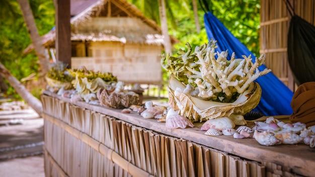 インドネシア、ラジャアンパット、西パプア、ガム島のホームステイの欄干にある海のムール貝と囲いの竹小屋。