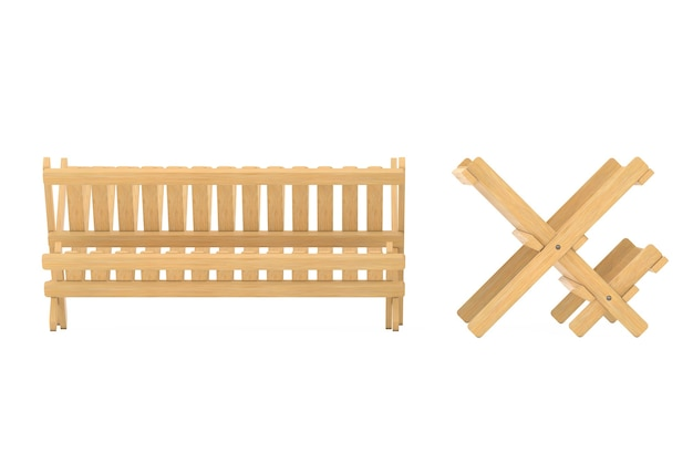 Bamboo kitchen dish drying rack on a white background. 3d rendering