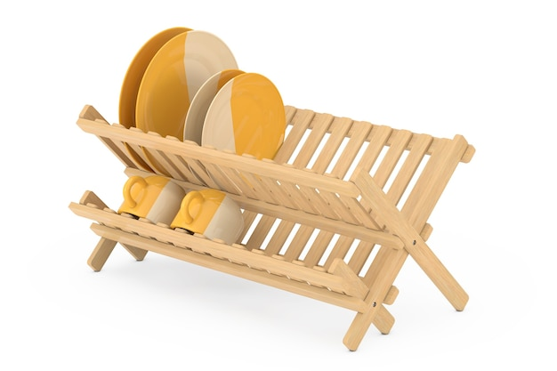 Bamboo kitchen dish drying rack with plates and mugs on a white background. 3d rendering