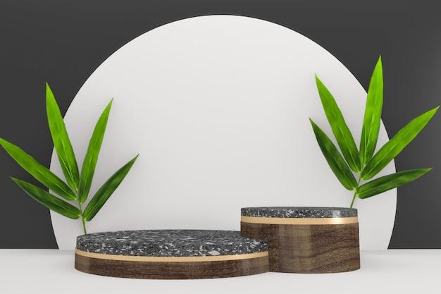 笹の葉の装飾と白い背景の上の白い花崗岩の表彰台