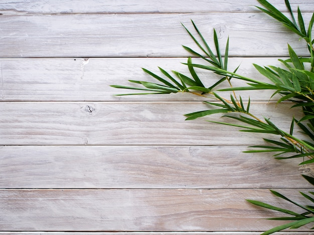 Bamboo leaves on white wooden