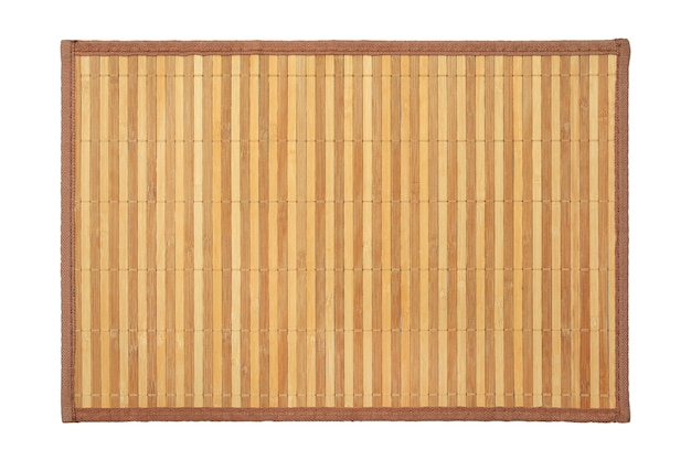 Bamboo mat texture background on white