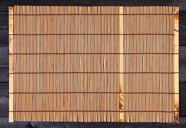 Bamboo mat. top view with copy space