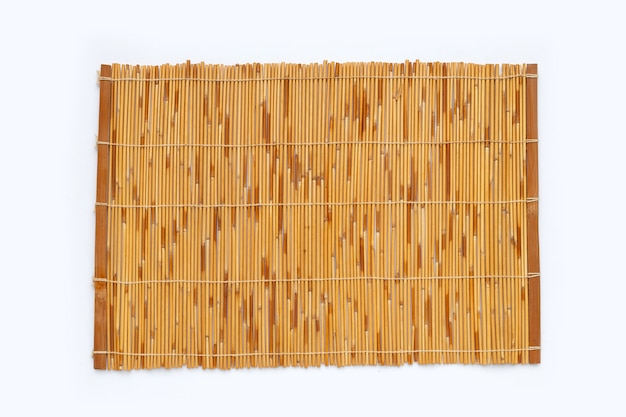 Bamboo mat on white background.