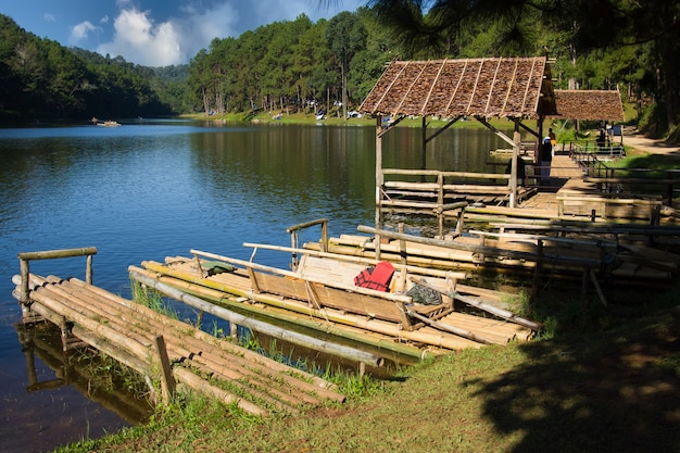 Bamboo raft and cottages on the water at pangung maehongson northern of thailand