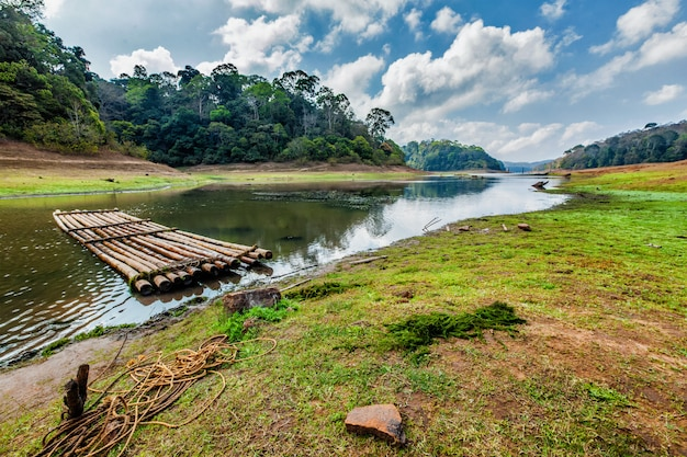 Bamboo raft in periayar wildlife sanctuary, periyar, kerala, india
