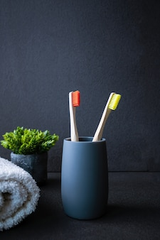 Bamboo toothbrush with carving. ecological toothbrush