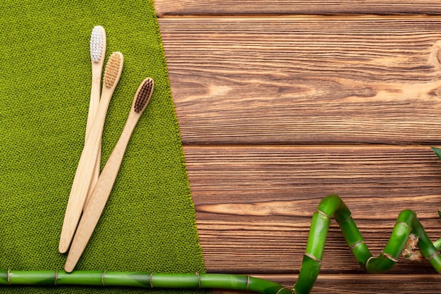 Bamboo toothbrushes, bamboo plant on wooden background
