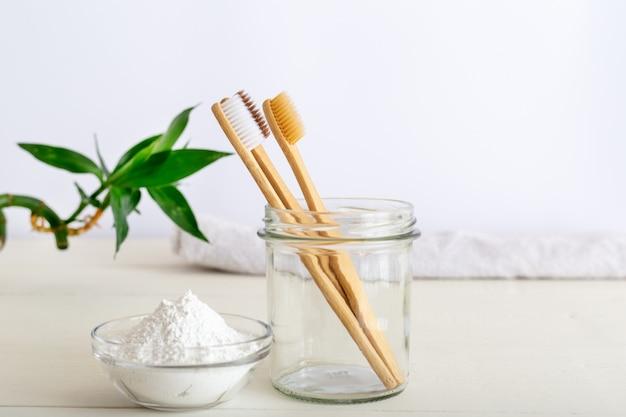 竹歯ブラシ、歯磨き粉、ホワイト