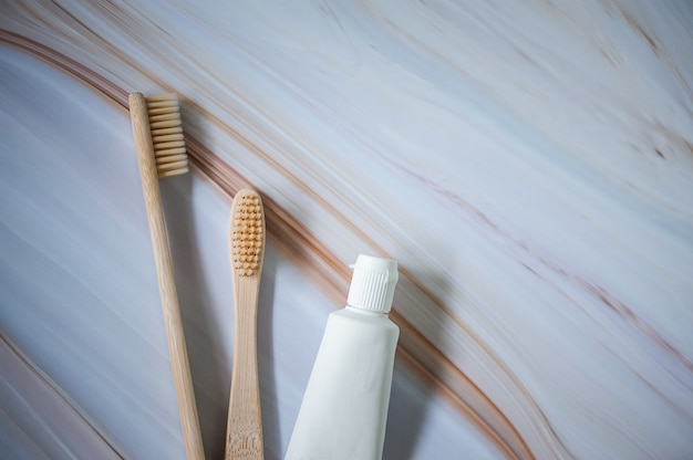 Bamboo toothbrushes with natural toothpaste