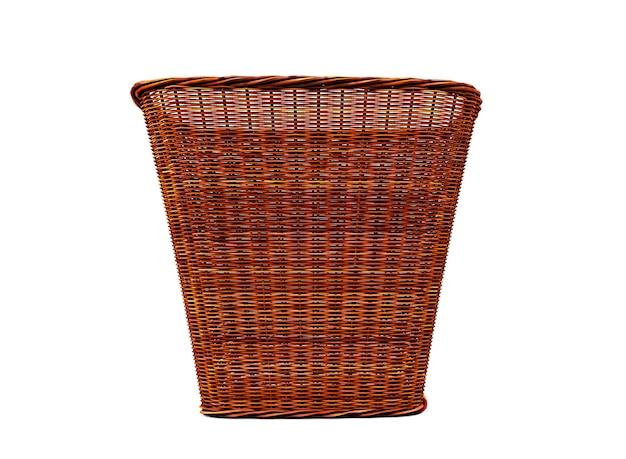 대나무 직조 세탁 바구니 흰색 배경에 3d 렌더링