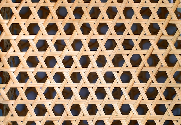 Bamboo weaving texture, woven wood pattern hexagon shape background