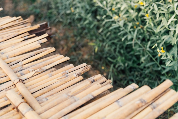 대나무 나무 경로 다리 크로스 노란색 crotalaria juncea 꽃 (sunn 마) 필드 위에 통과