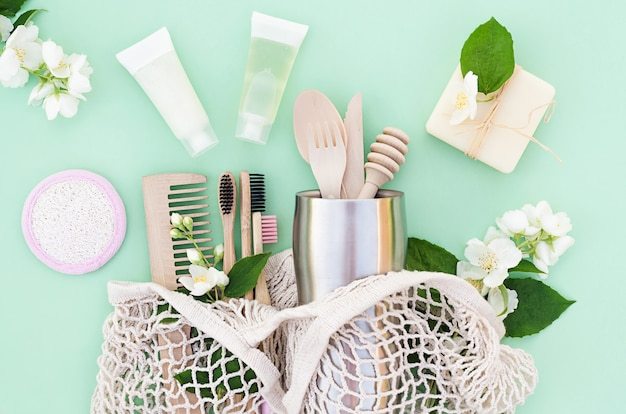 Bamboo and wooden kitchen and bathroom accessories in eco friendly home. zero waste. plastic free.