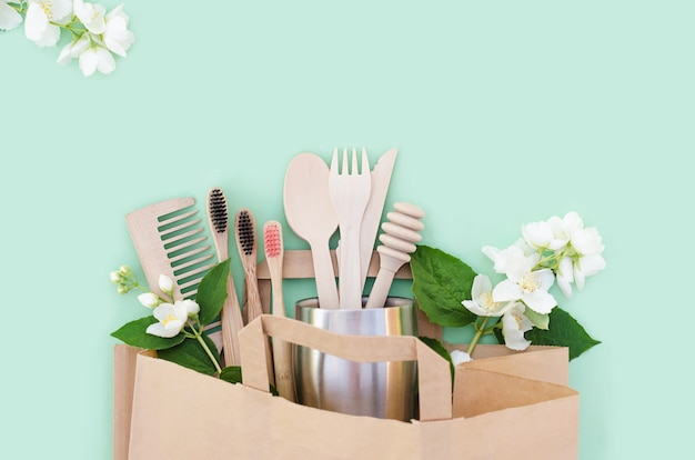 Bamboo and wooden kitchen and bathroom accessories in eco friendly home. zero waste.