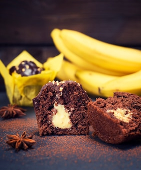 Banana chocolate cupcakes with a filling