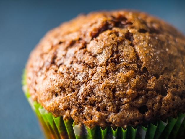 Banana chocolate muffins with caramel sugar topping