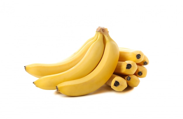 Banana cluster isolated. fresh fruit