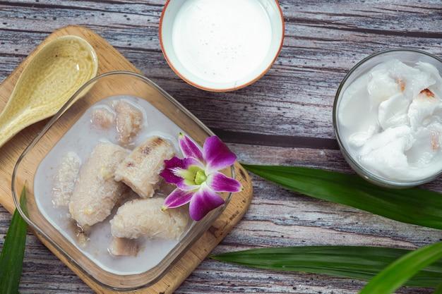 Banana in coconut milk, asian traditional thai desserts, thai desserts.