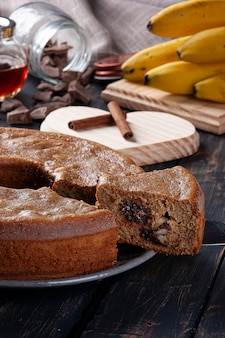 Banana fit cake with chocolate and nuts. healthy food