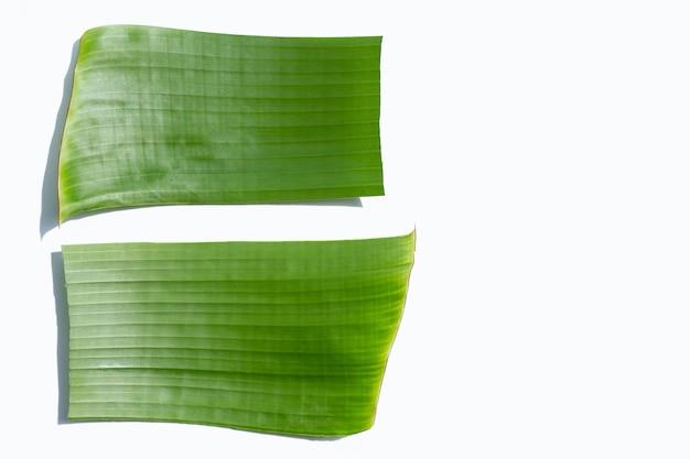 Банановый зеленый лист на белом фоне.