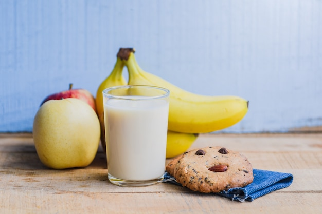 Banana milk yogurt on wooden table healthy diet menu