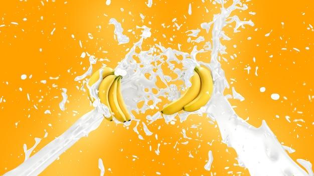 Banana milkshake splash background